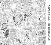 fruit doodles seamless vector... | Shutterstock .eps vector #444834292