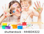 mom and baby draws with colored ... | Shutterstock . vector #444834322