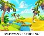 happy tropical sand beach coast ... | Shutterstock . vector #444846202