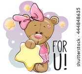 cute cartoon teddy bear girl... | Shutterstock .eps vector #444848635