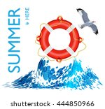 lifebuoy on the wave  poster... | Shutterstock .eps vector #444850966