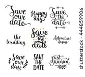 save the date collection with... | Shutterstock .eps vector #444859906