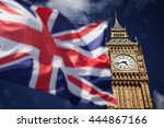 british union jack flag and big ... | Shutterstock . vector #444867166