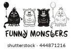 set of cute different cartoon... | Shutterstock .eps vector #444871216