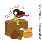 little girl and big bags. the... | Shutterstock .eps vector #444878776