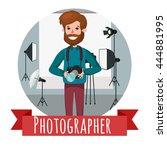 vector photographer character... | Shutterstock .eps vector #444881995