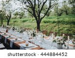 wedding banquet table in a... | Shutterstock . vector #444884452