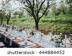 wedding banquet table in a... | Shutterstock . vector #444884452