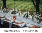 wedding banquet table in a... | Shutterstock . vector #444884455