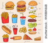 sketchy fast food illustrations.... | Shutterstock . vector #444884668