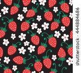 seamless red strawberry pattern ...   Shutterstock . vector #444884686