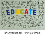education sketch design on... | Shutterstock . vector #444884986