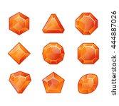 cartoon vector orange gems and...