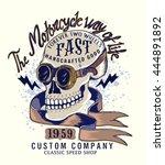vintage biker skull... | Shutterstock .eps vector #444891892