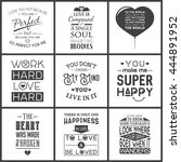 set of vintage love typographic ... | Shutterstock .eps vector #444891952