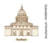paris landmark. pantheon hand... | Shutterstock .eps vector #444894952