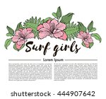 illustration about syrf girls.... | Shutterstock .eps vector #444907642
