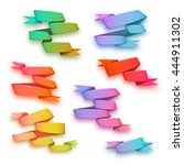 vector set of curved ribbon... | Shutterstock .eps vector #444911302