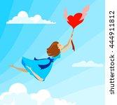happy woman in love flying on... | Shutterstock .eps vector #444911812