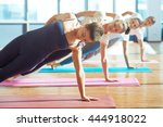 one hand stand | Shutterstock . vector #444918022