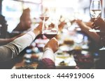 business meeting eating cheers... | Shutterstock . vector #444919006