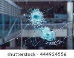bullet hole in glass.   Shutterstock . vector #444924556