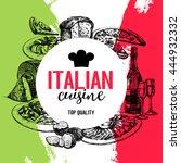 restaurant italian cuisine menu ... | Shutterstock .eps vector #444932332