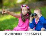 boy and girl exploring the... | Shutterstock . vector #444932995