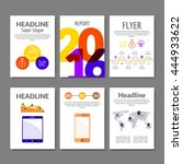 business flyer set. brochure... | Shutterstock .eps vector #444933622