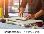 nori and white rice. man's...   Shutterstock . vector #444938146