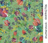 decorative floral seamless... | Shutterstock .eps vector #444942706