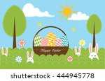 background with eggs  trees ... | Shutterstock . vector #444945778