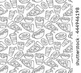 fast food hand drawing in... | Shutterstock .eps vector #444946198