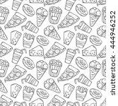 doodle junk food seamless... | Shutterstock .eps vector #444946252