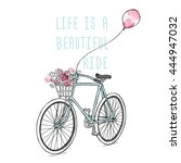 retro bicycle with a flowers... | Shutterstock .eps vector #444947032