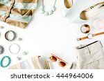 flat lay feminini clothes and... | Shutterstock . vector #444964006