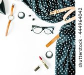 flat lay feminini clothes and... | Shutterstock . vector #444964042
