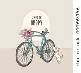 retro bicycle with a flowers... | Shutterstock .eps vector #444993196