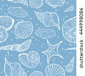 vector seamless marine pattern... | Shutterstock .eps vector #444998086