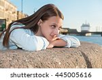 beautiful girl walks on the... | Shutterstock . vector #445005616