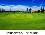 Golf green and club house on Swedish country side - stock photo