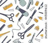 hairdresser tools hand drawn...