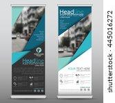 blue roll up business brochure... | Shutterstock .eps vector #445016272