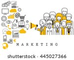 marketing team on white... | Shutterstock .eps vector #445027366