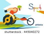 disabled race athlete wheel... | Shutterstock .eps vector #445040272