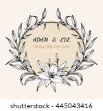 lily flower card vector by hand ... | Shutterstock .eps vector #445043416