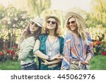 happy friends in the park on a... | Shutterstock . vector #445062976