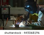 man welding steel by skill.men... | Shutterstock . vector #445068196