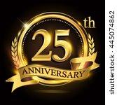 25th golden anniversary logo... | Shutterstock .eps vector #445074862