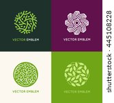 vector set of abstract green... | Shutterstock .eps vector #445108228